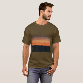 Olive Brown T-shirt with Sunset Design