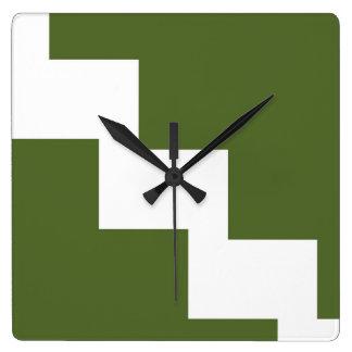 Olive Chevron Wall Clock