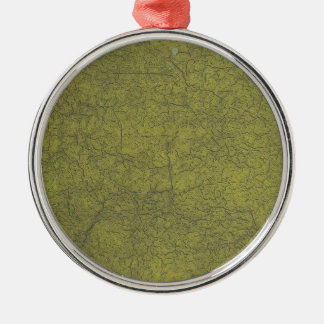 Olive Colored Painted Street Cracked Concrete Silver-Colored Round Ornament