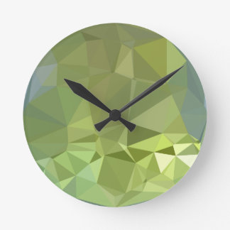 Olive Drab Abstract Low Polygon Background Clocks
