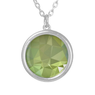 Olive Drab Abstract Low Polygon Background Silver Plated Necklace