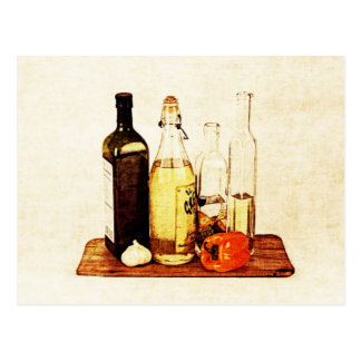 Olive evoo oil bottles and veggies postcard