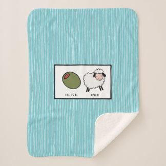 Olive Ewe I Love You Puns Sherpa Blanket
