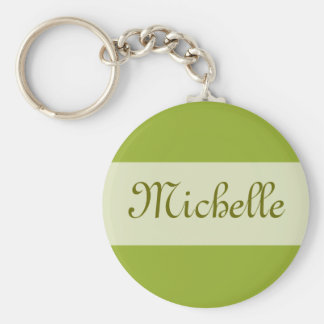 olive green Add your Name Basic Round Button Keychain