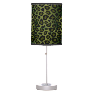 Olive Green and Black Leopard Animal Print Table Lamp