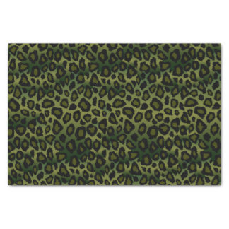Olive Green and Black Leopard Animal Print Tissue Paper