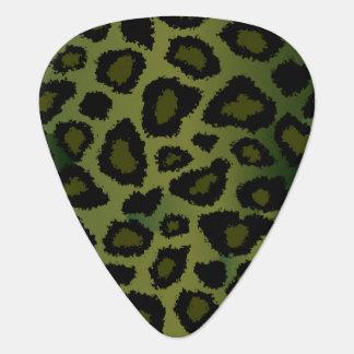 Olive Green And Black Leopard Pattern Guitar Pick