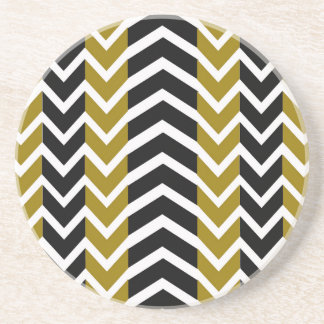 Olive Green and Black Whale Chevron Coaster