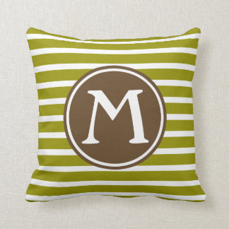 Olive Green and Chocolate Brown Stripe Monogram Throw Pillow