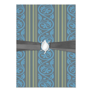 """olive green and classy blue stripes damask 5"""" x 7"""" invitation card"""
