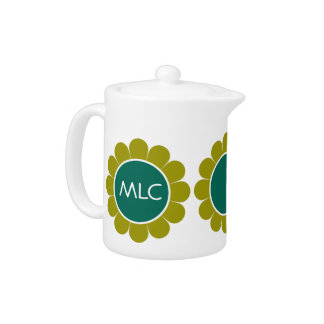 Olive Green and Dark Teal Retro Daisy Monogram