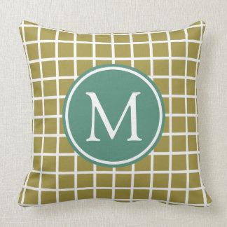 Olive Green and Deep Teal Lattice Monogram Throw Pillow