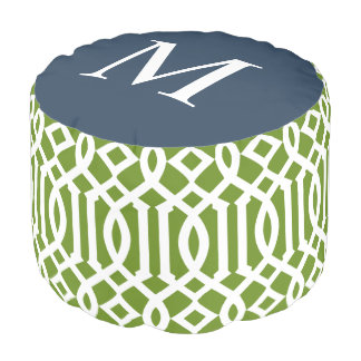 Olive Green and Navy Moroccan Trellis Monogram Pouf