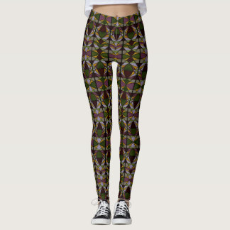 Olive Green and Purple Graphic Multicolor Leggings