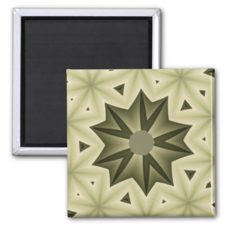 Olive Green and Tan Star and Triangles Square Magnet