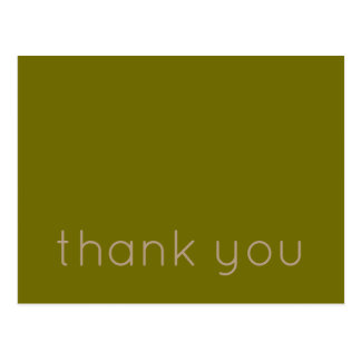 Olive Green and Taupe Thank You Postcard