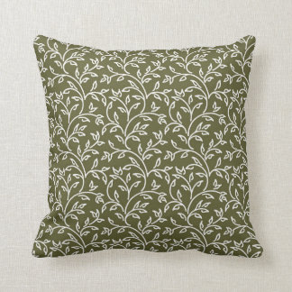 Olive Green and White Floral Pattern Throw Pillow