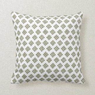 Olive Green and White Flower Pattern Throw Pillow