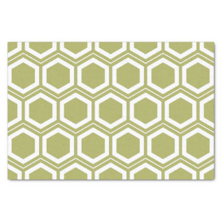 Olive Green and White Honeycomb Pattern Tissue Paper