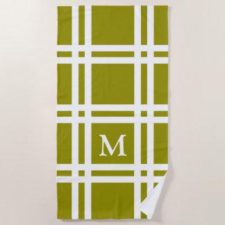Olive Green and White Lattice Monogram Beach Towel
