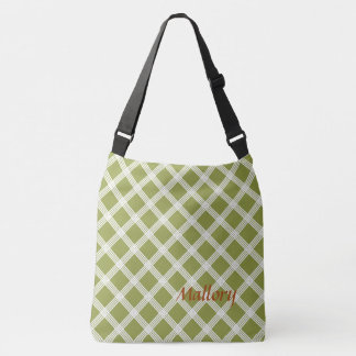 Olive Green and White Lattice Stripes Diaper Crossbody Bag