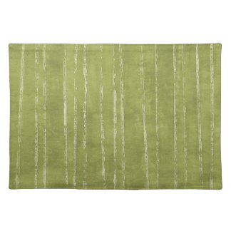 Olive green and white stripe placemat