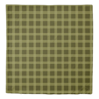 Olive Green And Yellow Plaid Pattern Duvet Cover