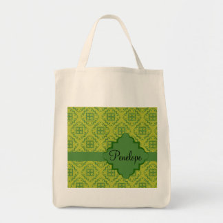 Olive Green Arabesque Moroccan Graphic Pattern Tote Bag