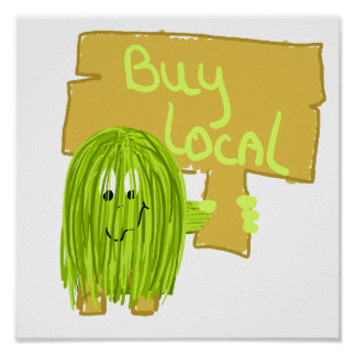 Olive Green Buy Local Poster
