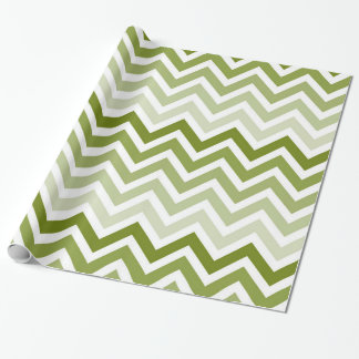 Olive Green Chevron Ombre Wrapping Paper