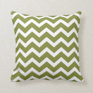 Olive Green Chevron Stripe Pillow