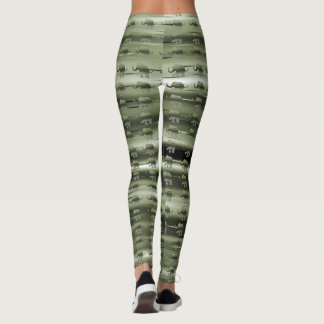 Olive Green Colour Stripes with Elephant Pattern Leggings