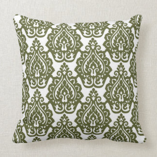 Olive Green Damask Reversible Pillow