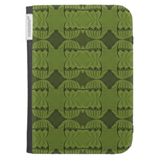 olive green deco pattern kindle folio cases