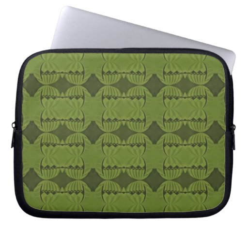 olive green deco pattern laptop computer sleeves