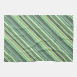 Olive green diagonal stripes kitchen towel