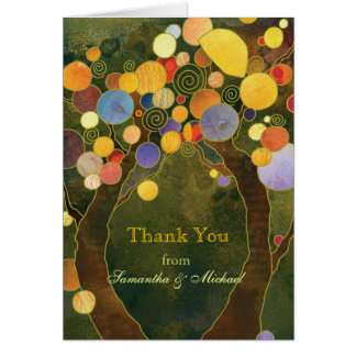 Olive Green Fall Love Trees Wedding Thank You Card