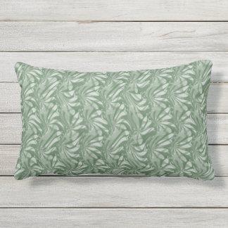 Olive Green Floral Swirls Outdoor Lumbar Pillow
