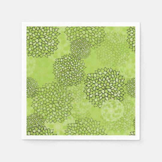 Olive Green Flower Burst Disposable Napkin