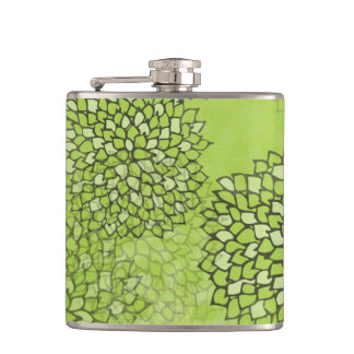 Olive Green Flower Burst Hip Flask