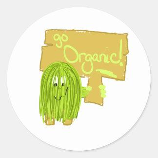 Olive Green Go Organic Classic Round Sticker