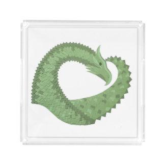 Olive green heart dragon on white acrylic tray