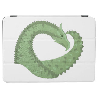 Olive green heart dragon on white iPad air cover
