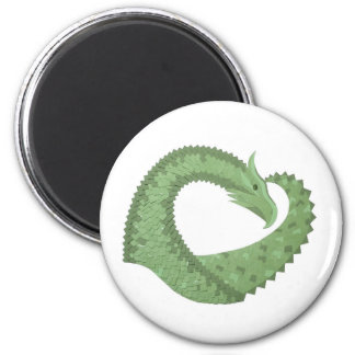 Olive green heart dragon on white magnet