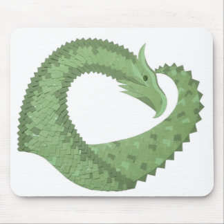 Olive green heart dragon on white mouse pad