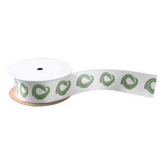 Olive green heart dragon on white satin ribbon