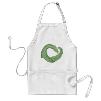 Olive green heart dragon on white standard apron