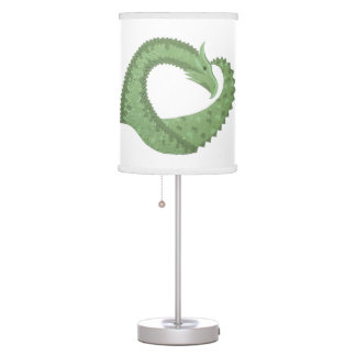 Olive green heart dragon on white table lamp