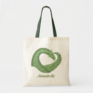 Olive green heart dragon on white tote bag