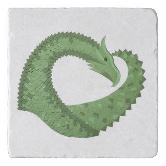 Olive green heart dragon on white trivet